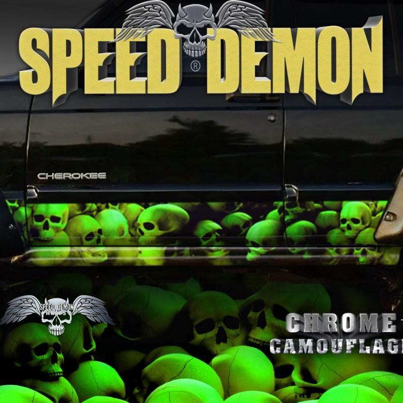 Jeep Cherokee Rocker Wraps Skull Skulls Unhallowed Ground Green - Yellow Hue