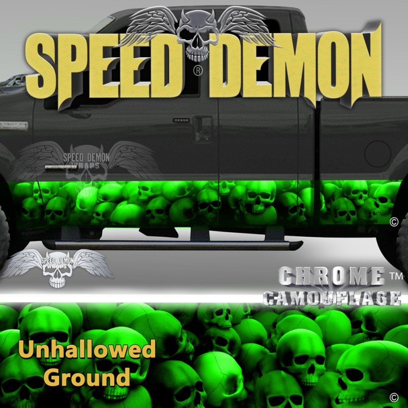Skull Truck Rocker Panel Wraps Green Skulls Unhallowed Ground