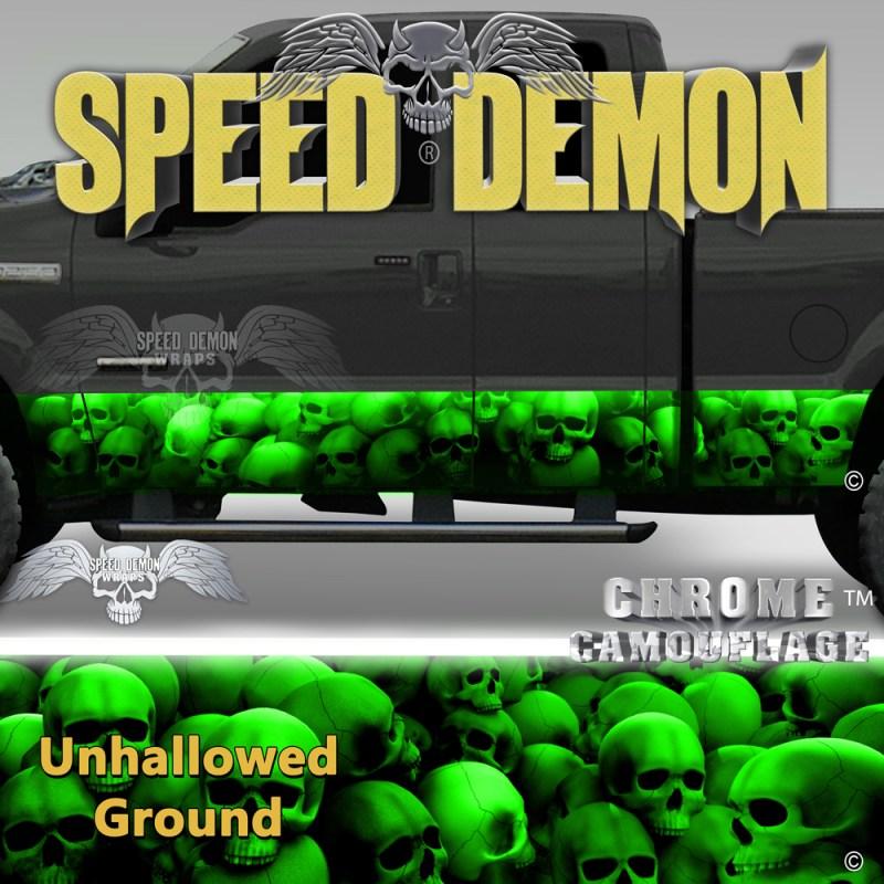Skull Truck Rocker Panel Wraps Green Skulls Unhallowed Ground
