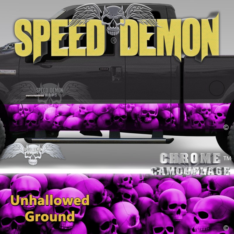 Skull Truck Rocker Panel Wraps Pink Skulls Unhallowed Ground
