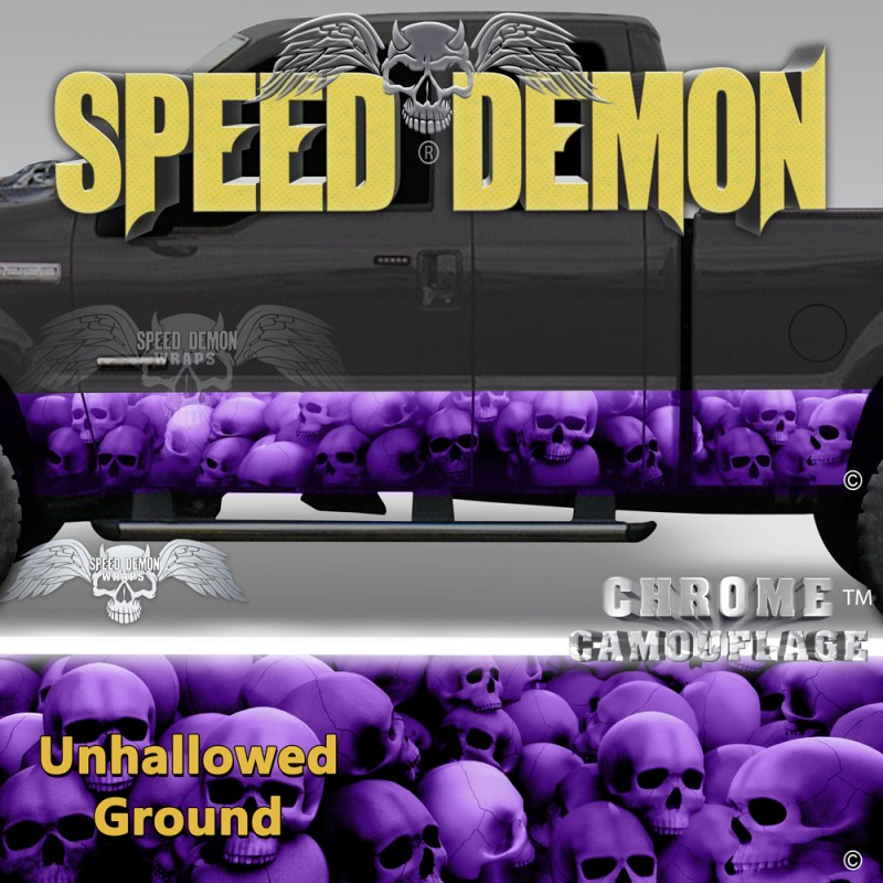 Skull Truck Rocker Panel Wraps Purple Skulls Unhallowed Ground