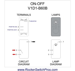 Rocker Switch | ONOFF | SPST | 1 dep light | V1D1