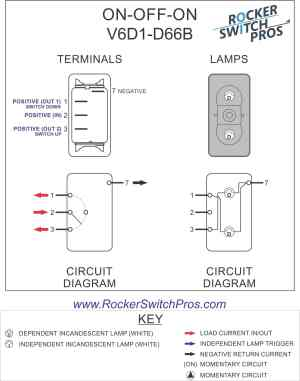 V6D1 Rocker Switch | ONOFFON | SPDT | 2 lights | Rocker