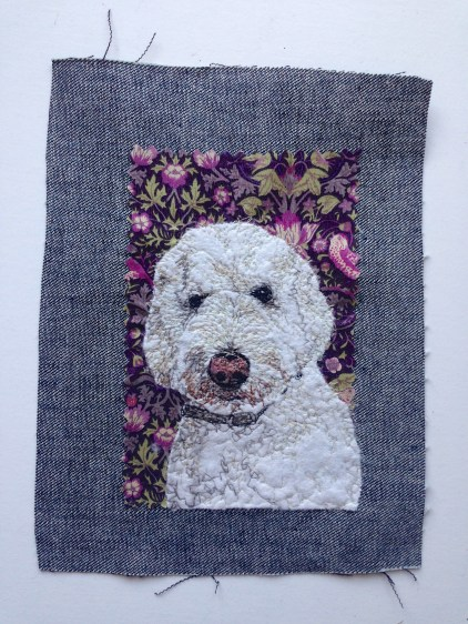 Sulley portrait: Freestyle machine embroidery, bespoke portraits