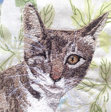 Captain Cat Sparrow in closeup: Freestyle machine embroidery, bespoke portraits