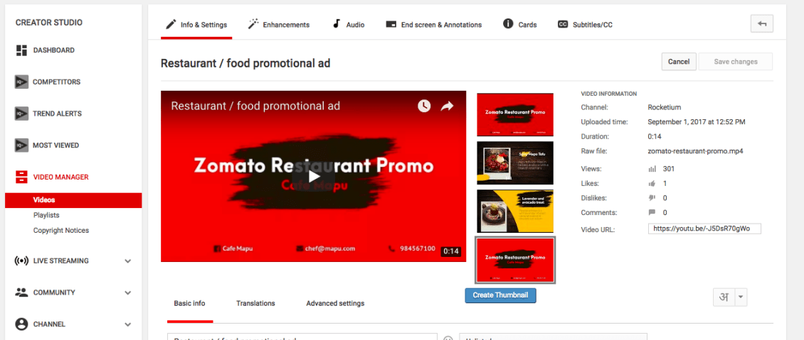 How to add video thumbnail in youtube