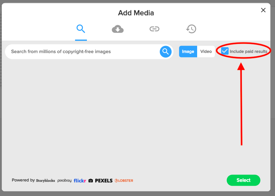 Search for paid results inside Rocketium's Editor