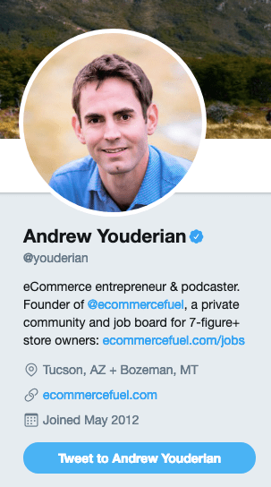 Andrew Youderian's Twitter account