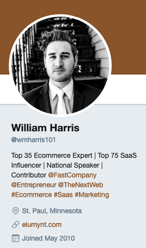 William Harris's Twitter account