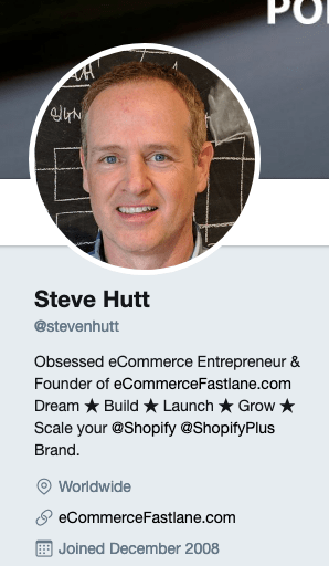 Steve Hutt's Twitter account