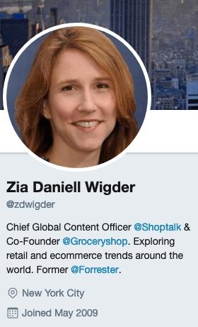 Zia Daniell Wigder's Twitter account