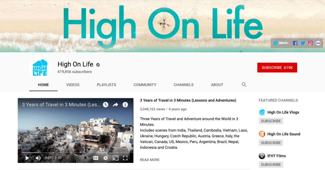 HighOnLife, a travel vlog on YouTube, has over 600k subscribers