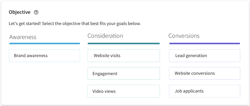Selecting an objective for your LinkedIn Ads