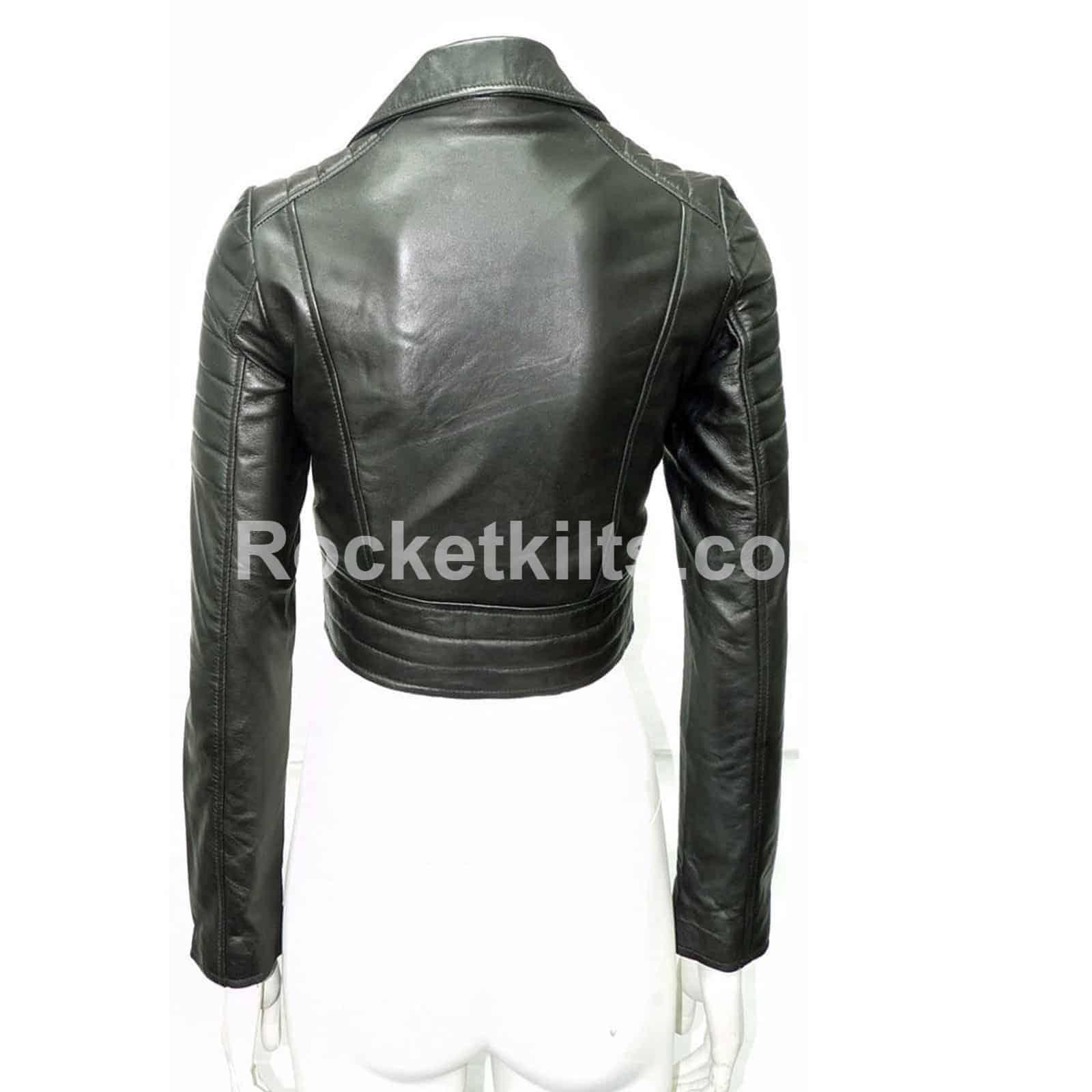 Missy Ladies Women s Black Short Biker Cropped Leather Jacket 0371f84df5e6