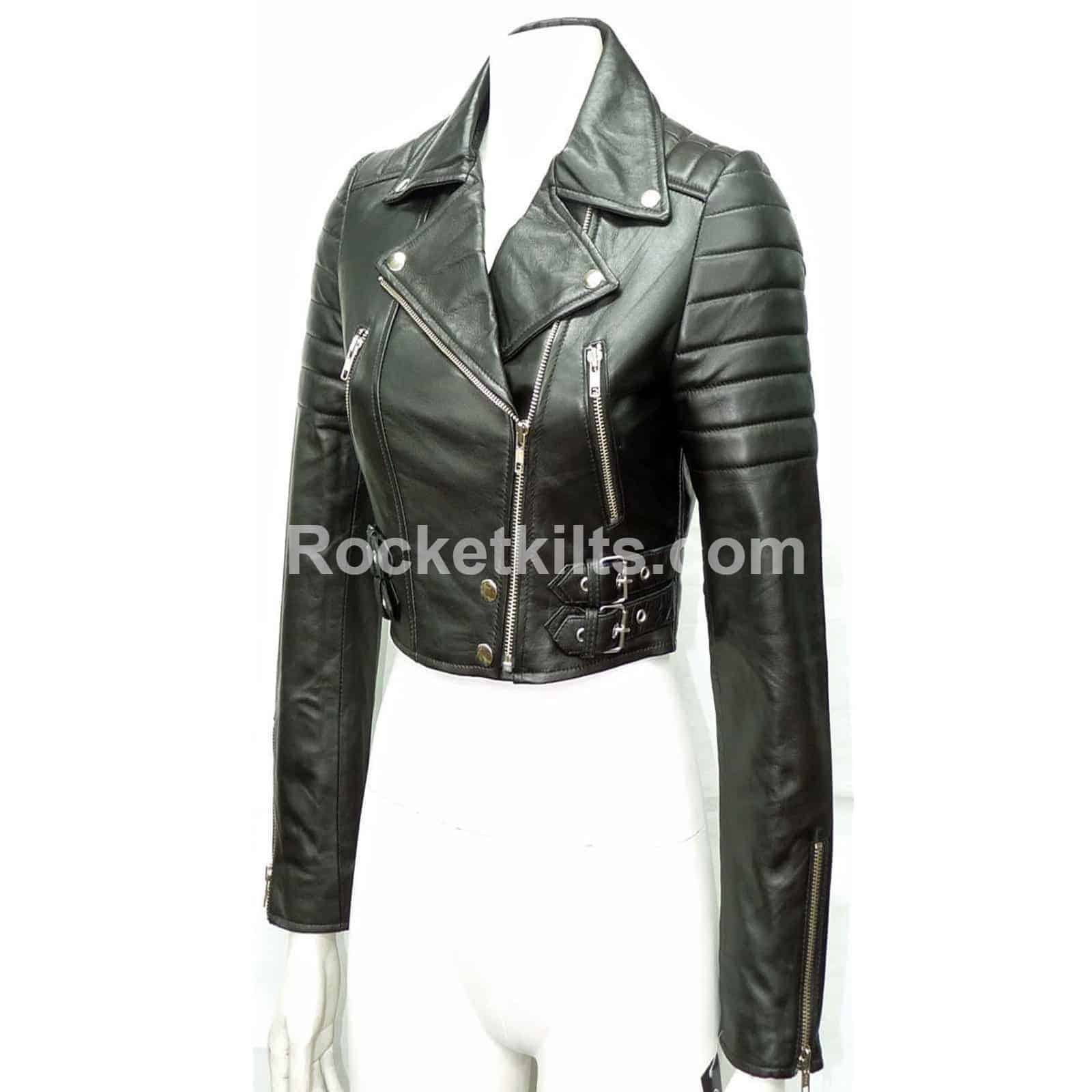 be0905977 Missy Ladies Women's Black Short Biker Cropped Leather Jacket