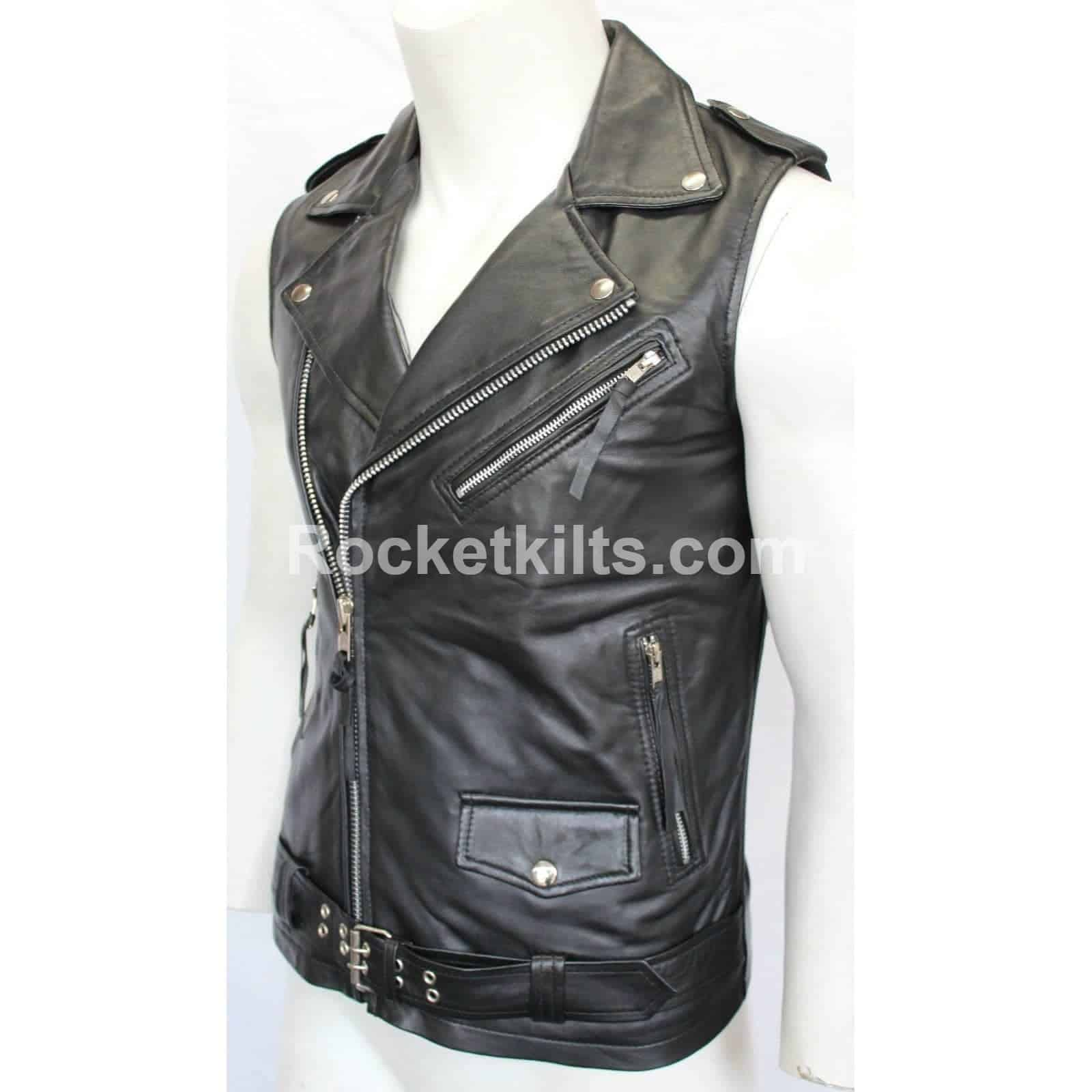 f8d1e28cac31e Brando Vintage Motorcycle Black Sleeveless Leather Jacket