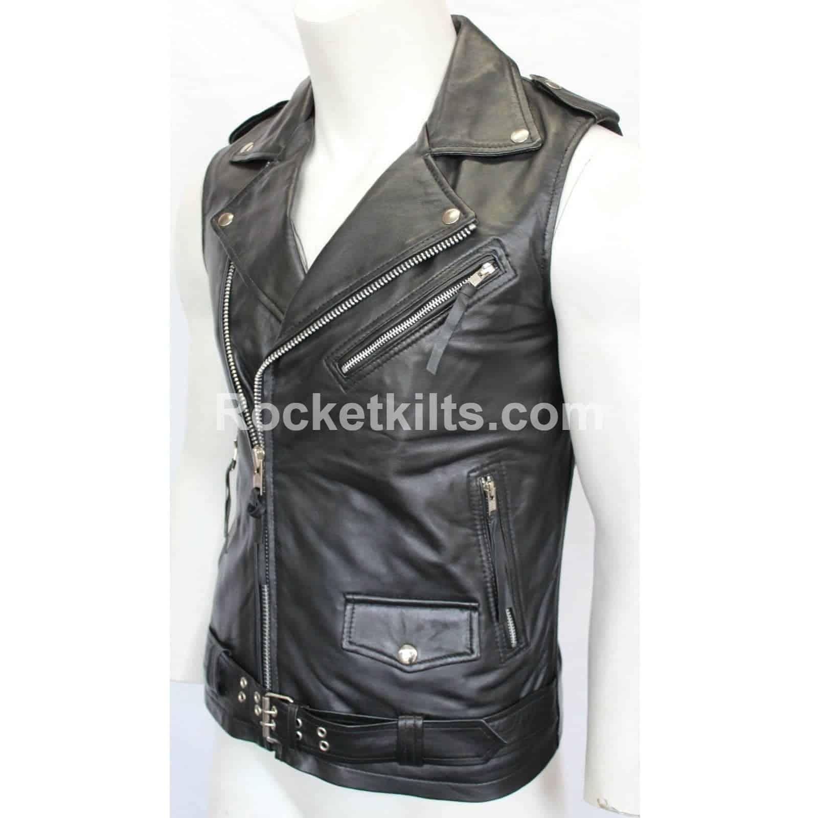 2bbd237e2ac0c Brando Vintage Motorcycle Black Sleeveless Leather Jacket