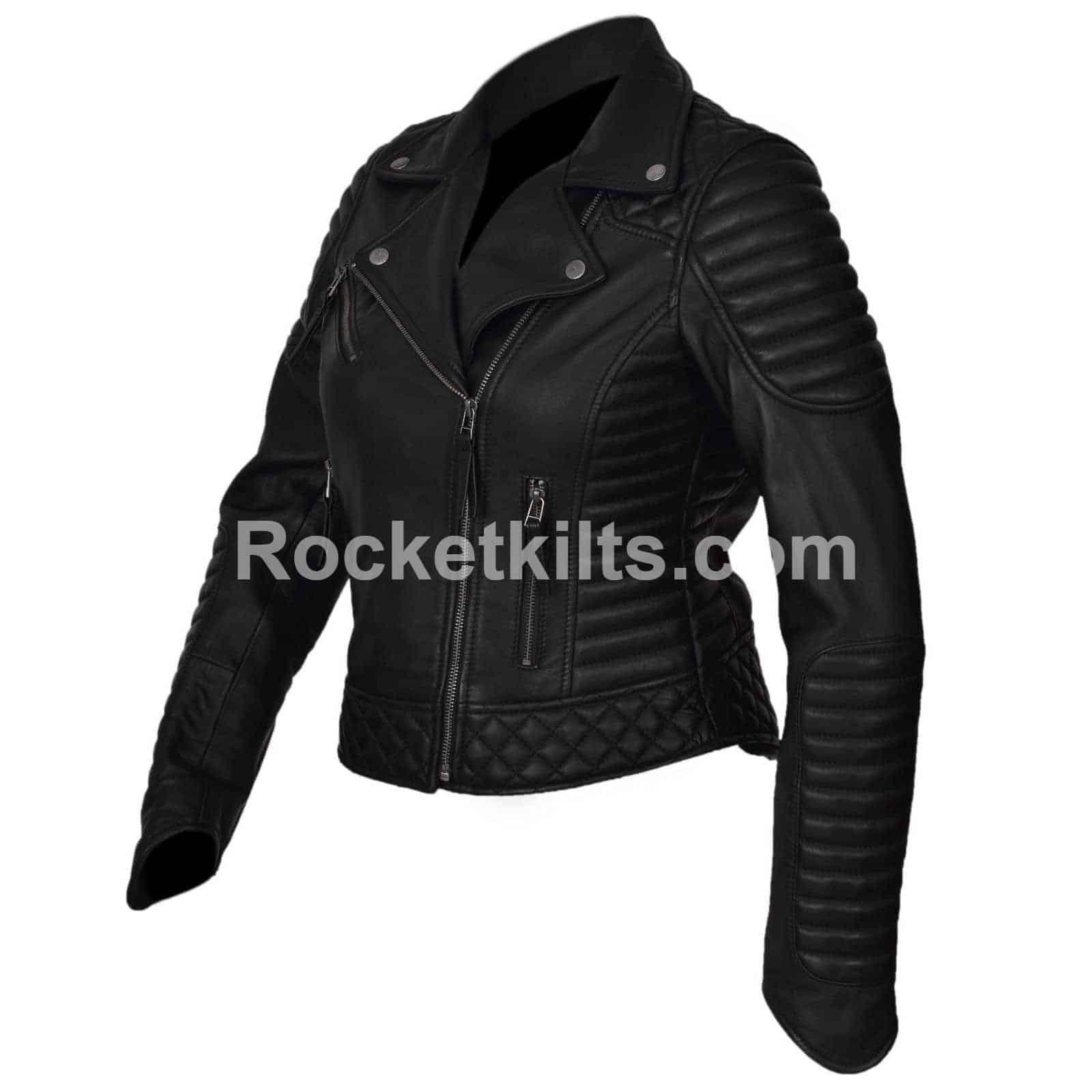 3336c50ab Vintage Style Leather Jacket With Detailed Padding For Sale