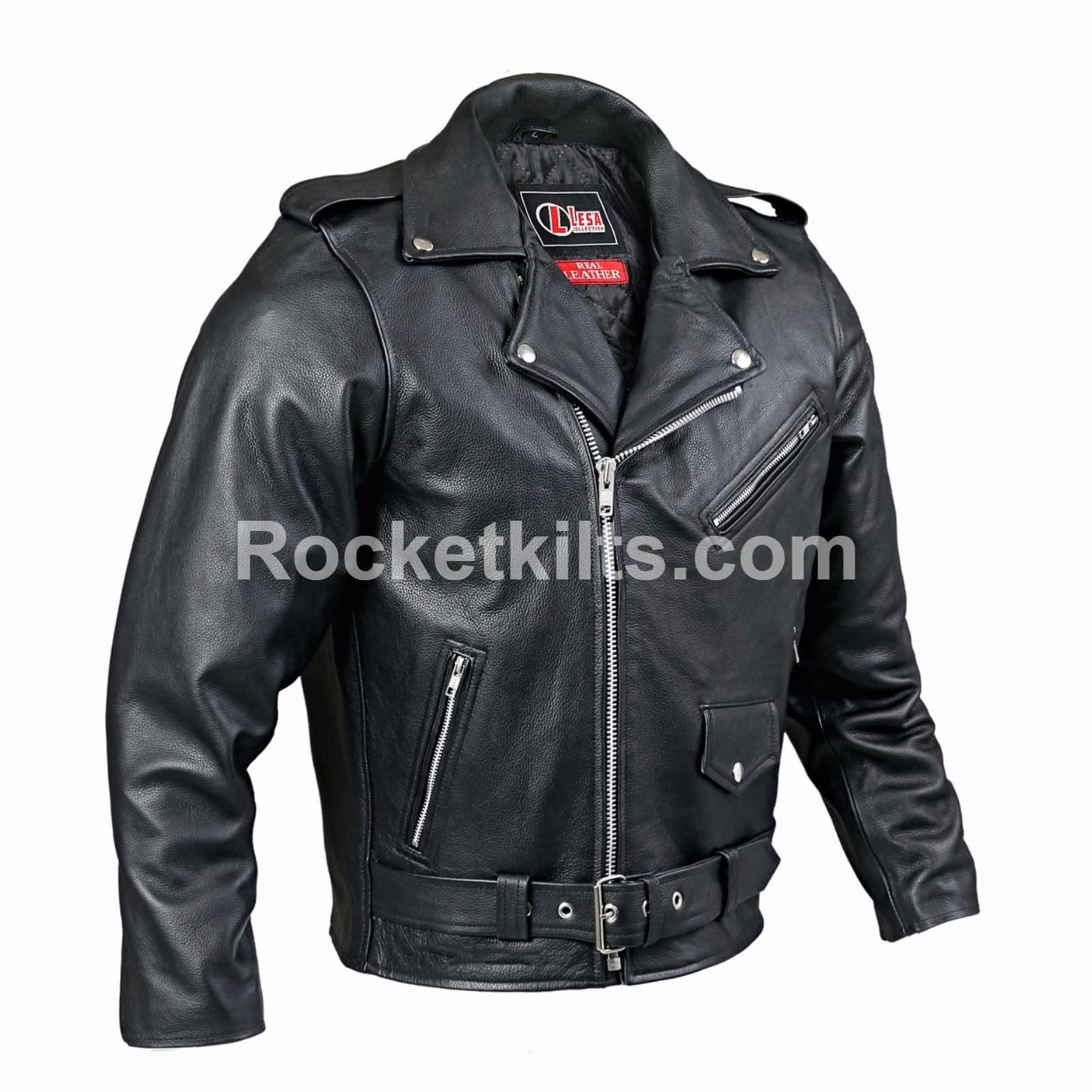 ac1df3052269f Mens Classic Brando Black Leather Motorcycle Jacket Biker Motorbike