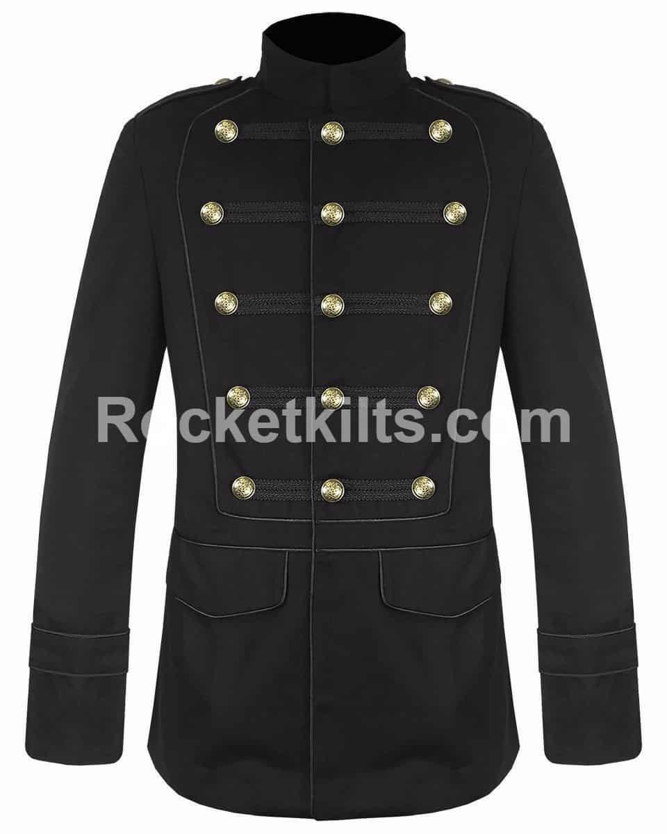 4103332ae9d Men Black Military Jacket Goth Steampunk Vintage Pea Coat