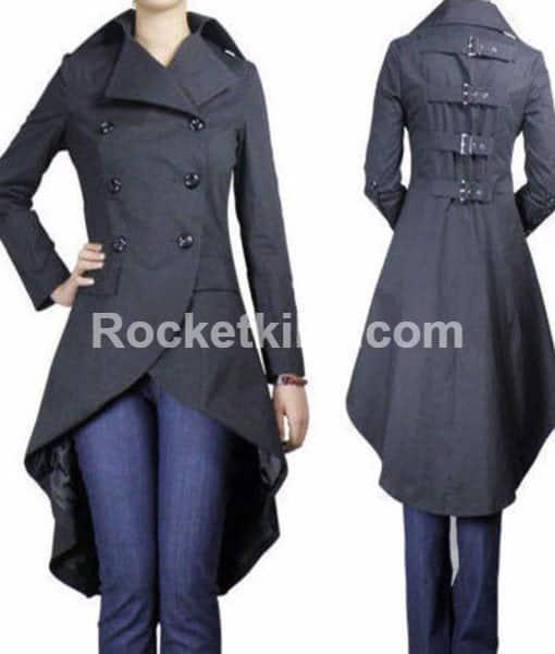 1a86719cb New Gothic Long Black Coat Long Fish Tail Jacket