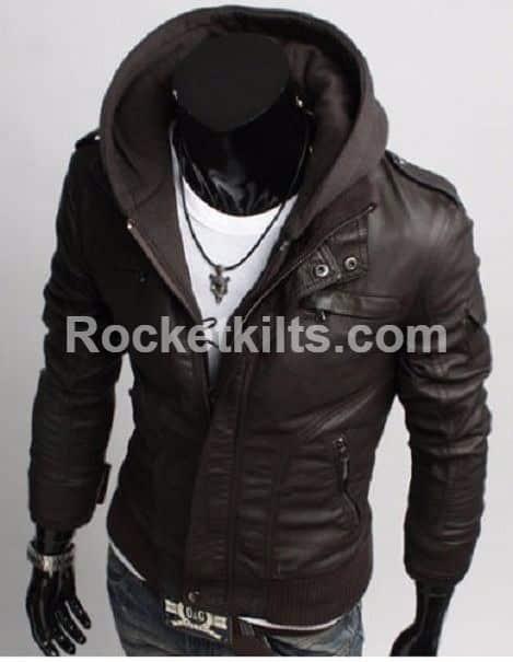 1039edcd6 Hooded Leather Jacket, leather hooded jacket men's, Mens leather hoodie, hooded  leather motorcycle