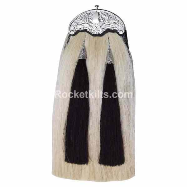 white horse hair spooran, sporran,horse hair sporran,kilt sporran,black sporran,sporran for sale,irish sporran