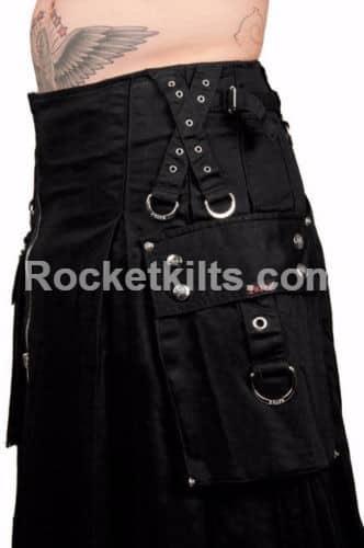 bondage kilt,gothic kilt, black gothic kilt, belted kilt, steampunk kilt,black kilt