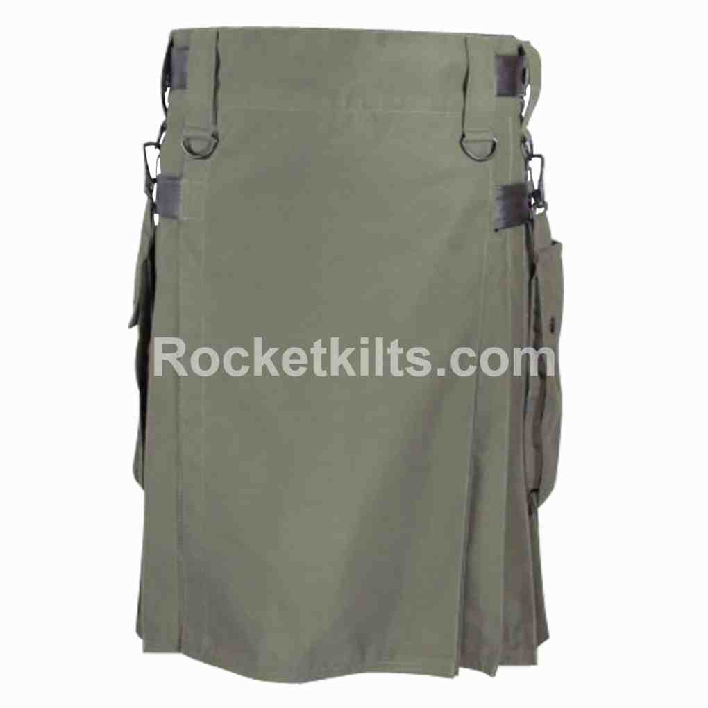 Olive Green Color Running Kilt