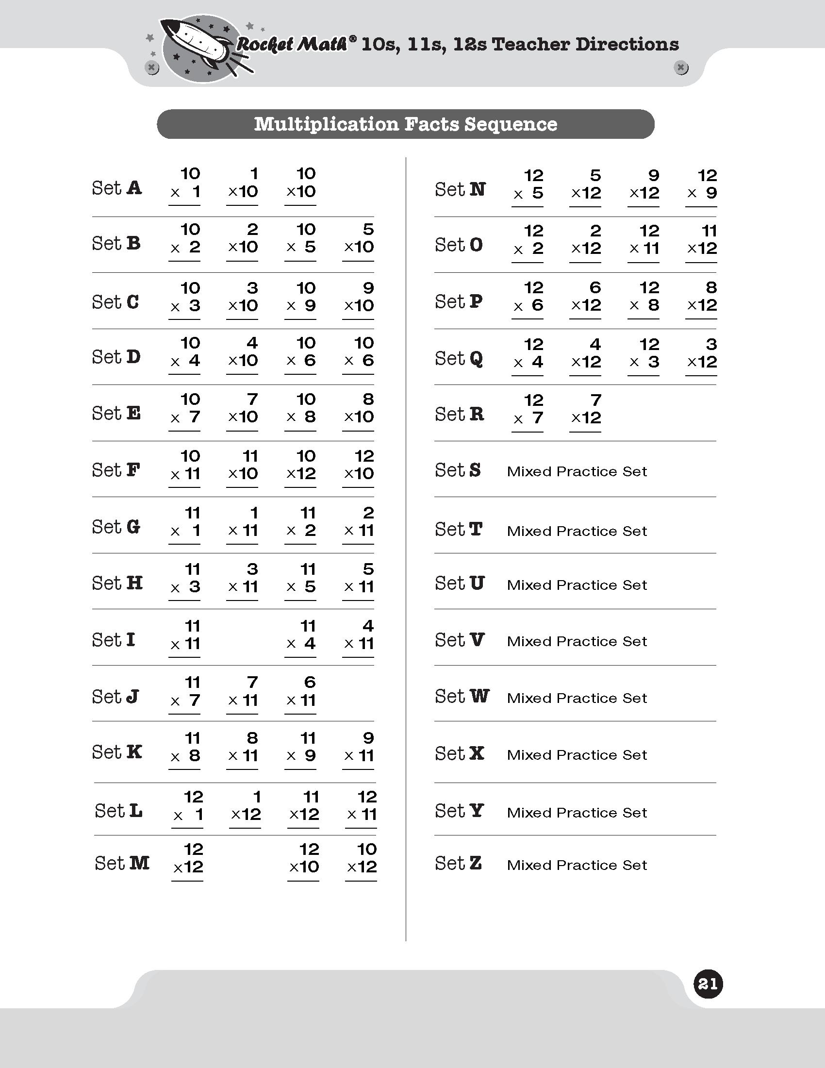 Multiplication 10s 11s 12s