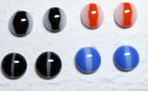 Striped Fused Glass Cabochons - After Firing