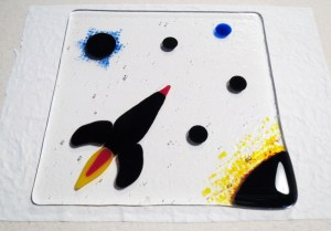 Fused Glass Rocket Cheeseboard