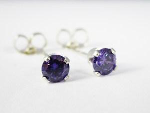 Amethyst CZ Stud Earrings
