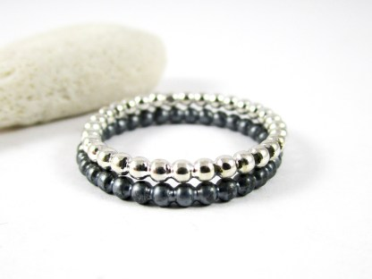 Silver Pearl Wire Ring