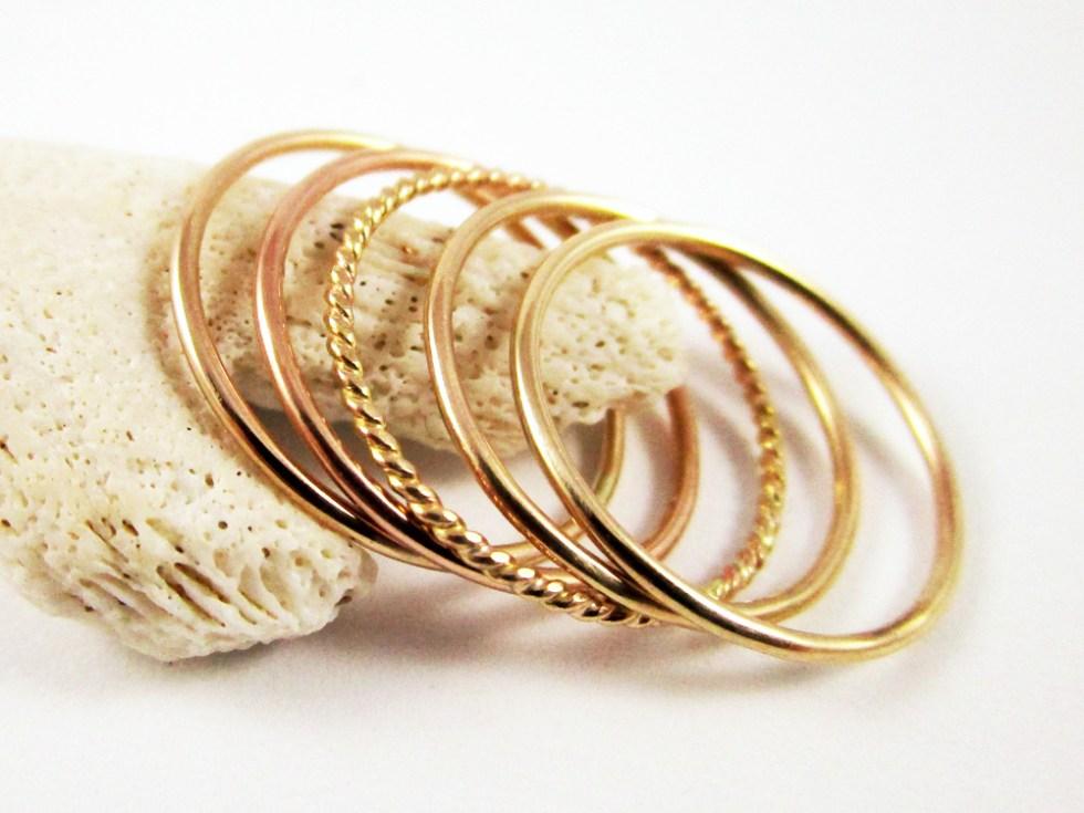 Stacker Ring Set (5) Gold Filled Plain Plain Twist