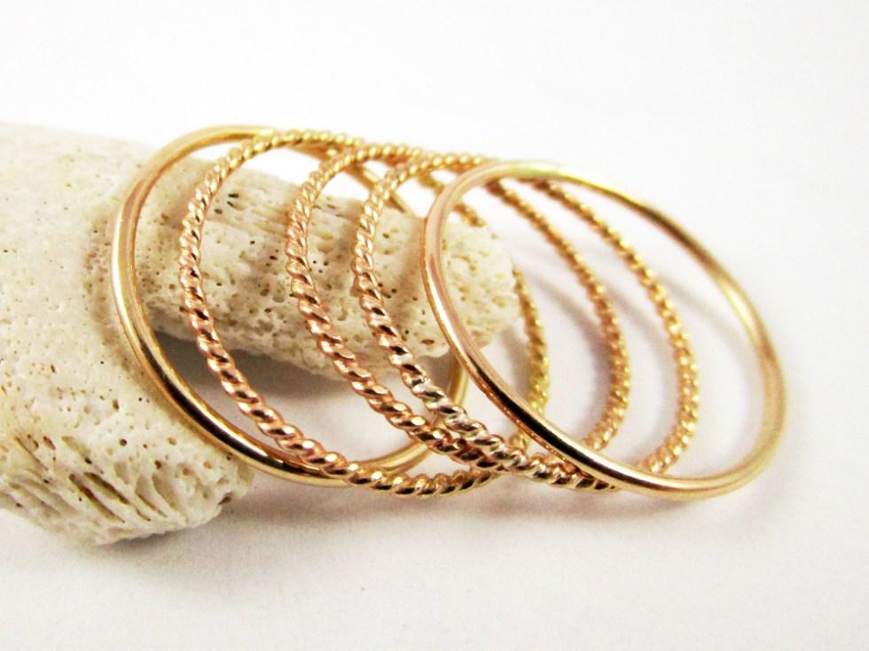 Stacker Ring Set (5) Gold Filled Plain Twist Twist