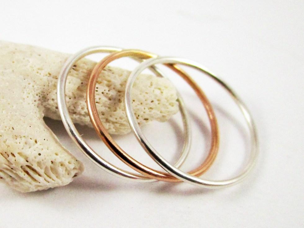Stacker Ring Set (3) Silver Gold Filled Plain