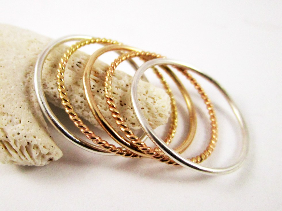Stacker Ring Set (5) Silver Alternate Plain Twist Gold Filled
