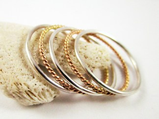 Silver Gold Stacker Ring Set