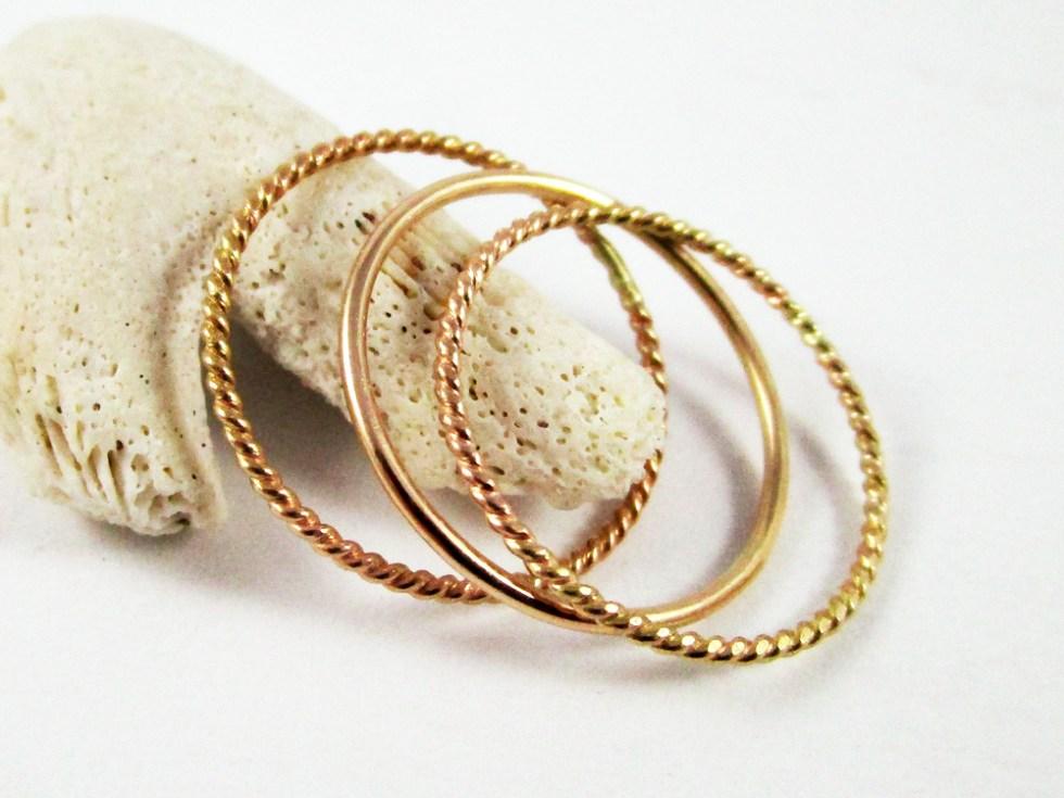 Stacker Ring Set (3) Gold Filled Twist Plain