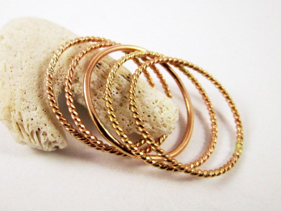Stacker Ring Set (5) Gold Filled Twist Twist Plain