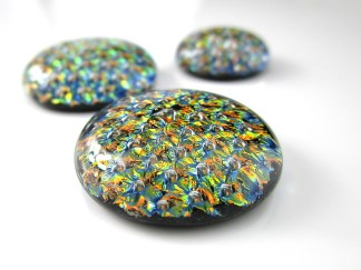 Yellow Dichroic Cabochons