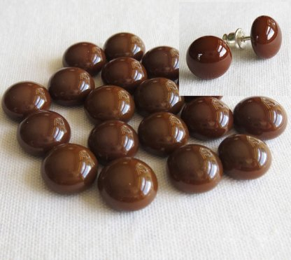 Brown Fused Glass Cabochons