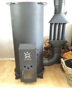 Rocket Stove met radiator