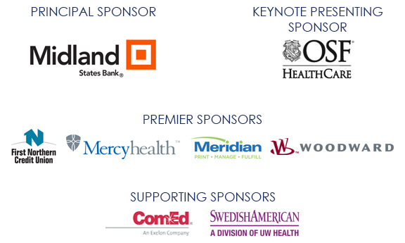 RAEDC Annual Meeting 2018 Sponsors - Midland States Bank - OSF Healthcare - Mercyhealth - Meridian - Woodward - Comed - SwedishAmerican - First National Credit Union