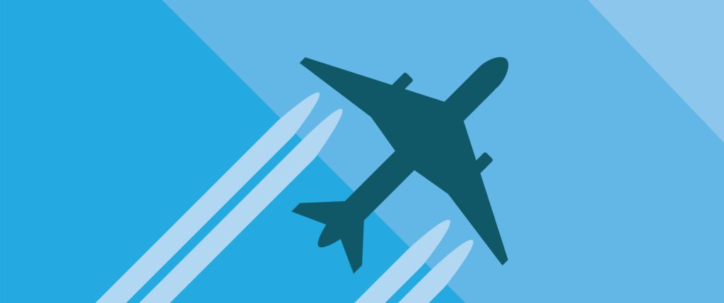 MAC2020 - Grey plane with contrails on a gradient blue background