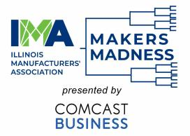 Makers Madness Logo with IMA and sports tournament bracket featured with Comcast Business wording