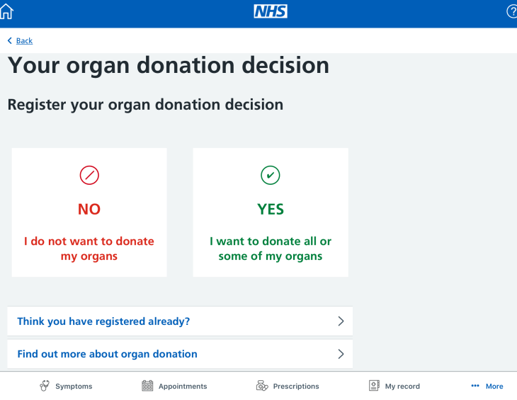 Yes or No Organ Donation Decision