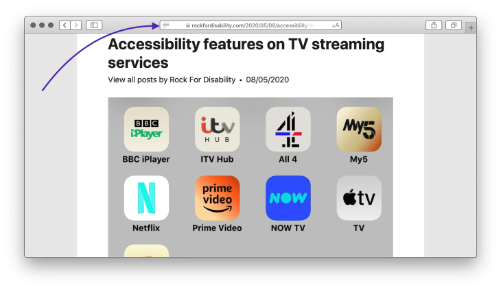 Safari on Reader View on a Rock For Disability blog post titled Accessibility features on TV streaming services with a purple arrow pointing on the Reader View button next to the address bar