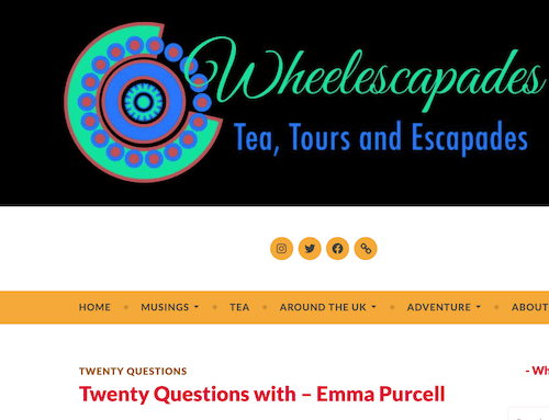 Twenty Questions with – Emma Purcell | Guest blog on Wheelescapades
